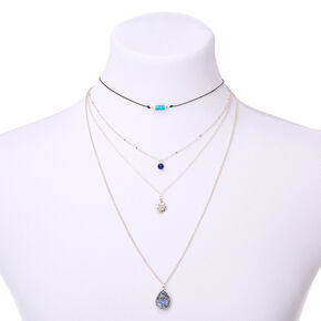 Natural Stone Multi Strand Necklace - Blue,