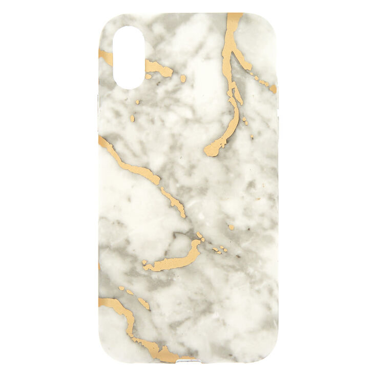 White & Gold Marble Phone Case - Fits iPhone XR,