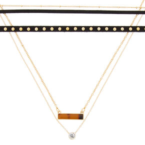 Gold Resin Tortoiseshell Bar Choker Necklaces - 3 Pack,