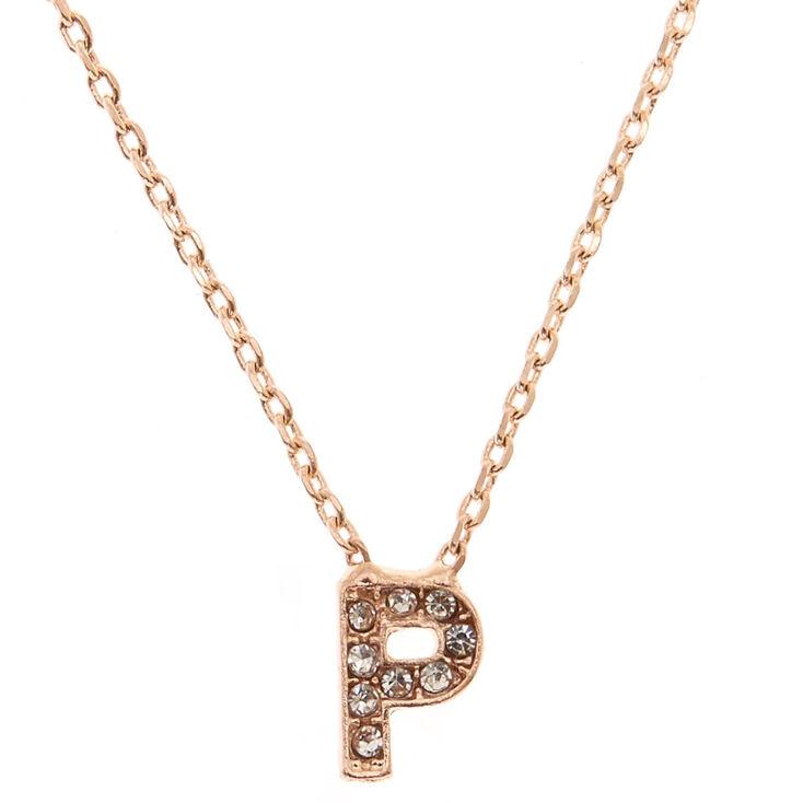 Rose Gold Embellished Initial Pendant Necklace - P,