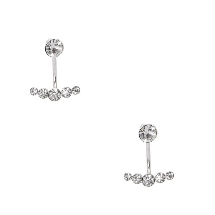 925 Sterling Silver Crystal Smile Front & Back Earrings,