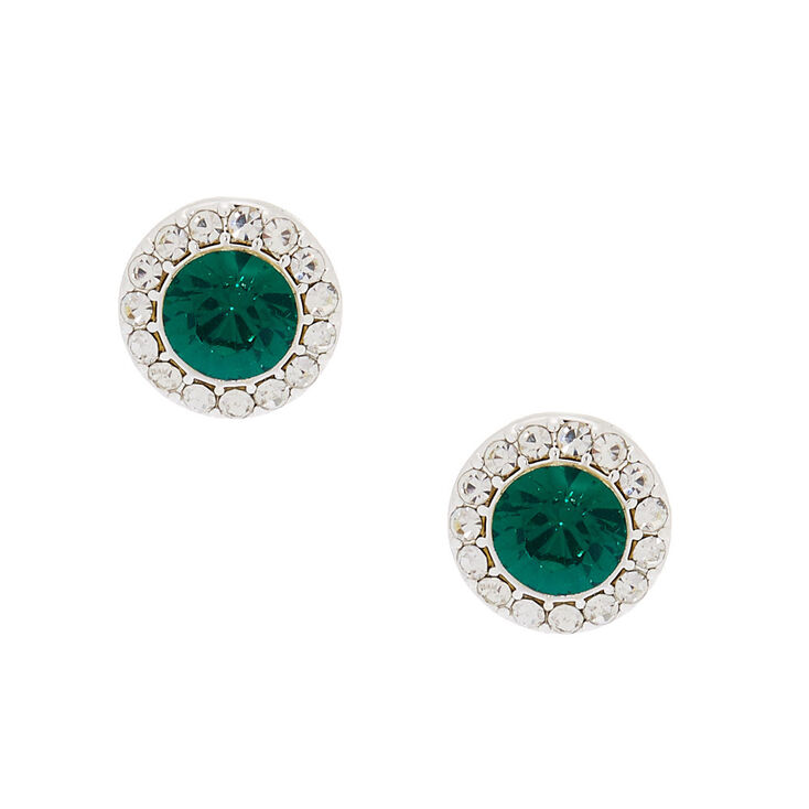 Silver Crystal Stud Earrings - Emerald,