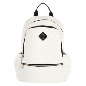 Faux Leather Quilted Functional Backpack - White,