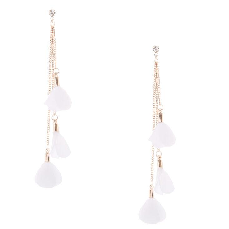 """4"""" Flower Petal Drop Earrings - White,"""
