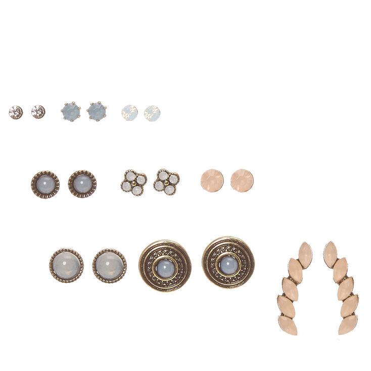 Burnished Gold Tone Pastel Glass Stone Stud Earrings,