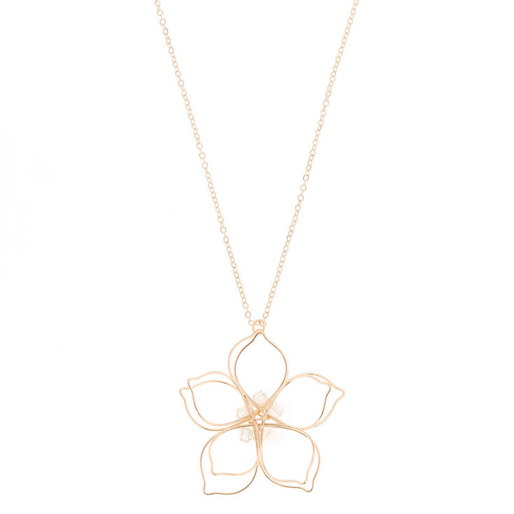 Rose Gold Large Wire Flower Pendant Necklace,