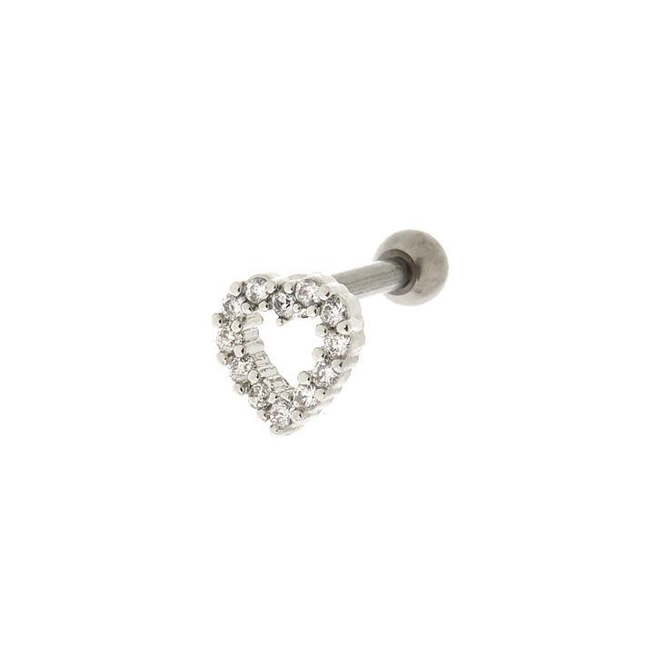 Titanium 14G Stone Heart Cartilage Stud Earring,