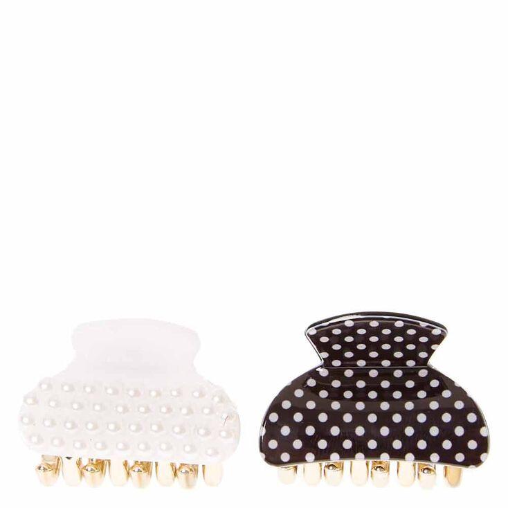 Pearl & Polka Dot Mini Hair Claws - 2 Pack,
