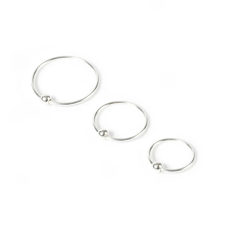 Sterling Silver 20G Assorted Nose Rings - 3 Pack,