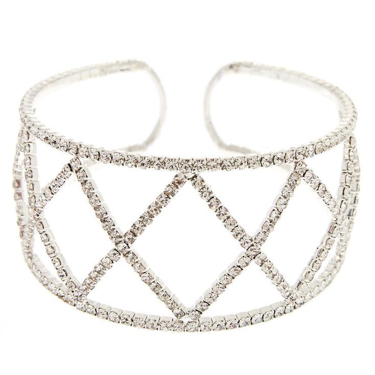 Silver Rhinestone Geometric Cuff Bracelet,