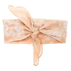 Silky Paisley Bandana Headwrap - Nude,