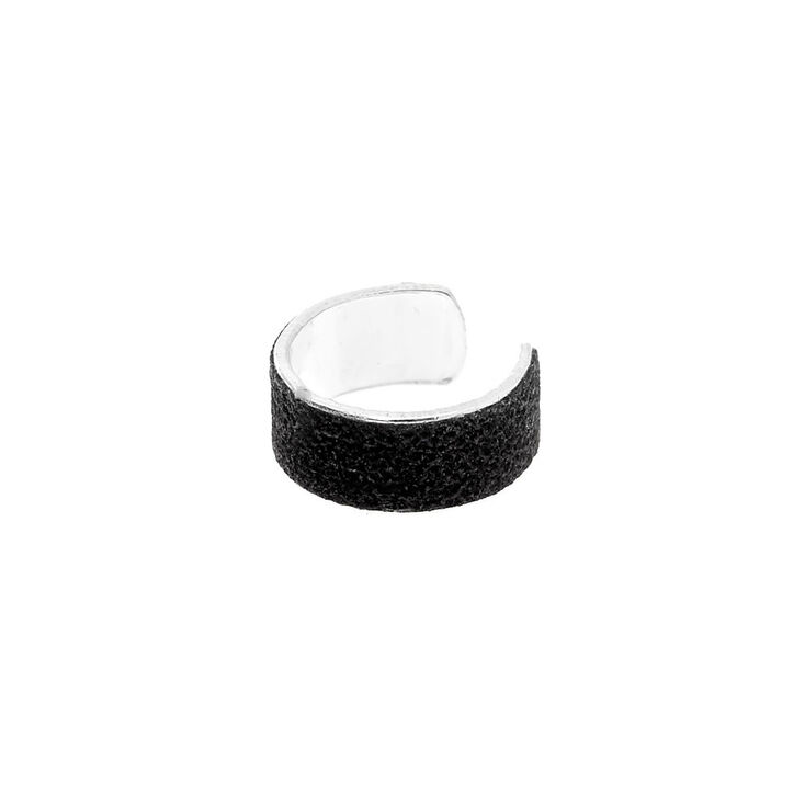 Silver Glitter Ear Cuff - Black,