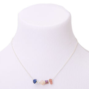 Silver Amethyst Puka Stone Pendant Necklace,