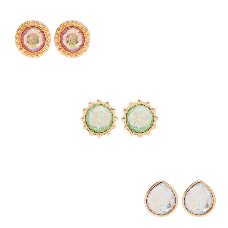 3 Pack Multi-Colored Holographic Stud Earrings,