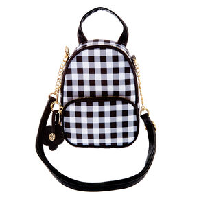 Daisy Gingham Mini Backpack Crossbody Bag - Black,