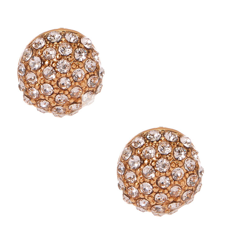 Gold Dome Pavè Stud Earrings,