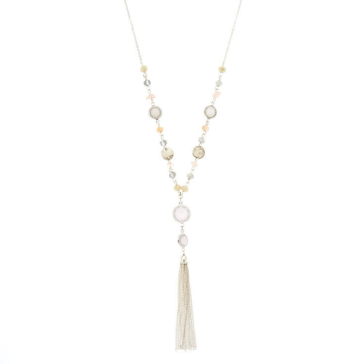 Antique Beaded Tassel Long Necklace,