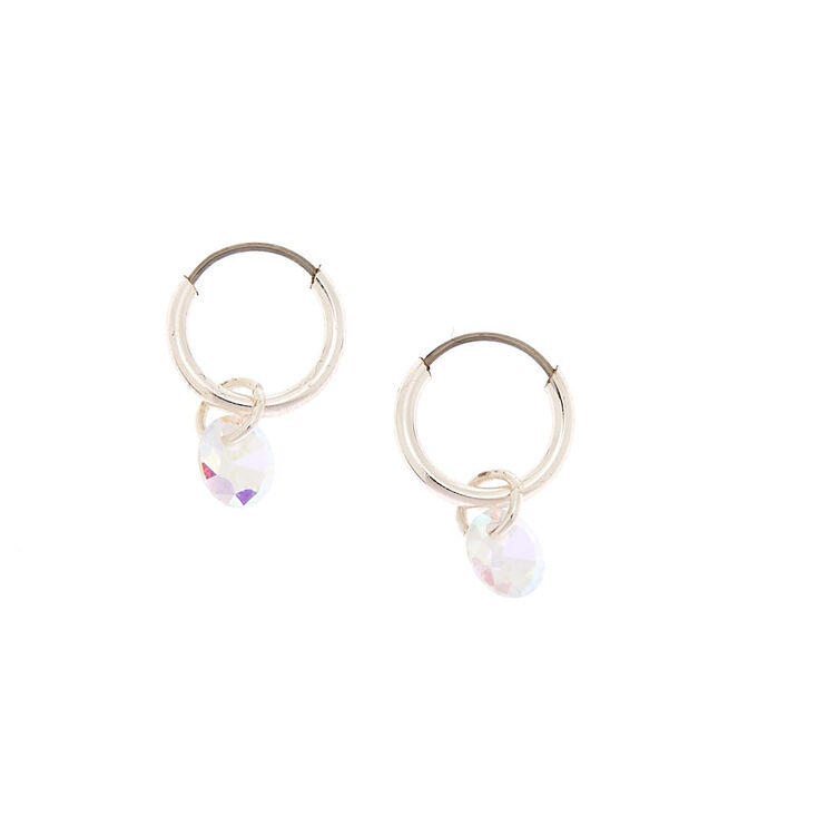 Cubic Zirconia Charm 10MM Hoop Earrings,