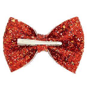 Cake Glitter Hair Bow Clip - Red,