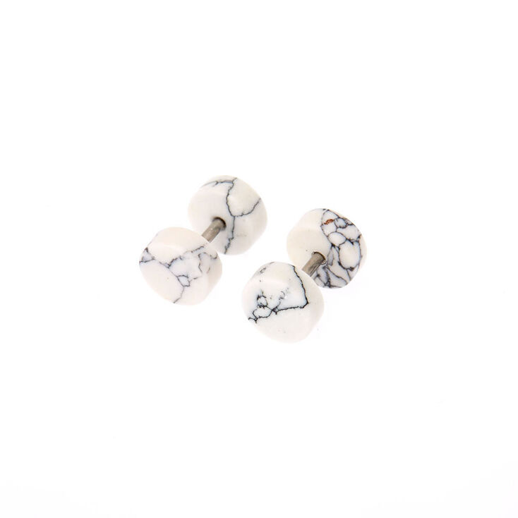 14G Marble Faux Ear Plugs,