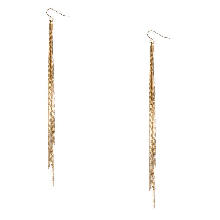 Gold-Tone Long Multi-Strand Drop Earrings,