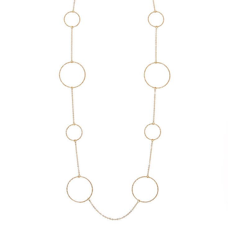 Gold-Tone Textured Hoop Necklace,