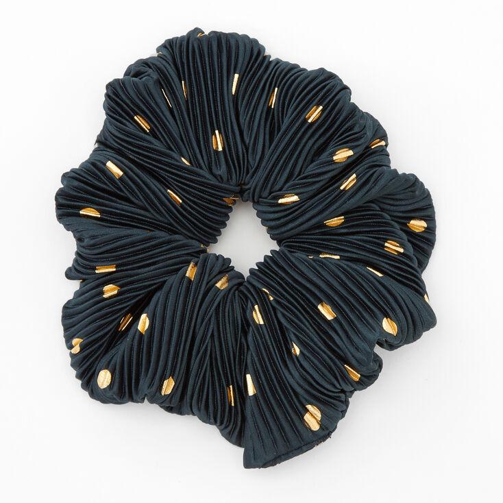 Giant Pleated Polka Dot Hair Scrunchie - Teal,