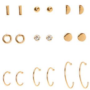 Gold Mixed Geometric Earrings - 9 Pack,
