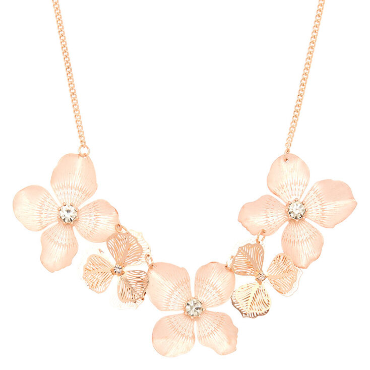 Rose Gold Blush Flower Statement Necklace,