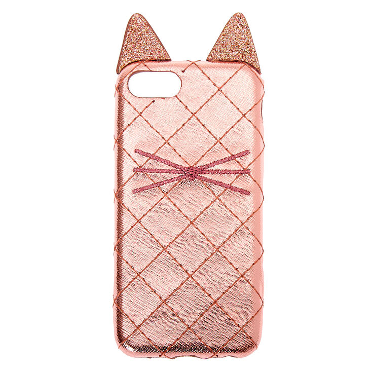 Rose Gold Cat Quilted Phone Case - Fits iPhone 6/7/8,