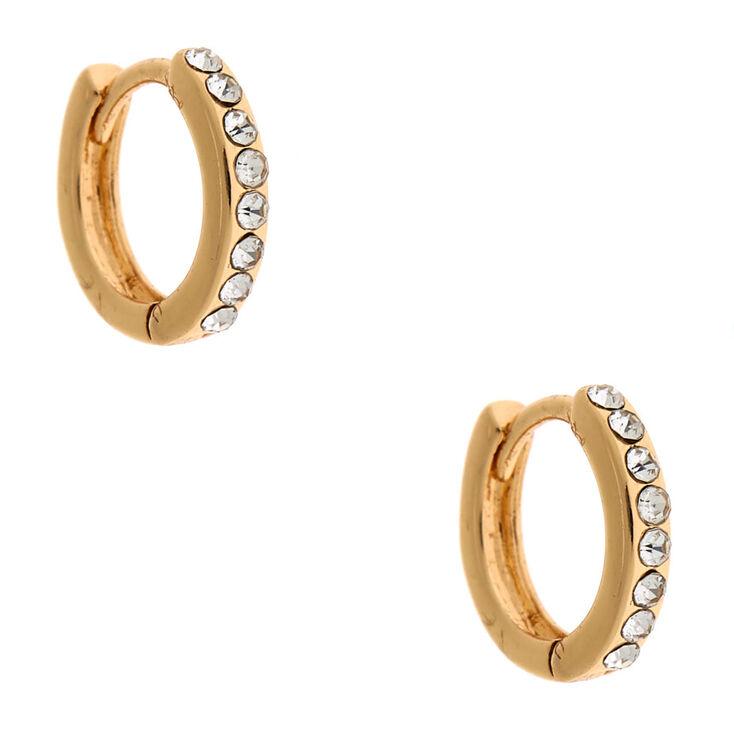 Gold 10MM Crystal Huggie Hoop Earrings,