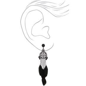 """5"""" Feather Medallion Drop Earrings - Black,"""