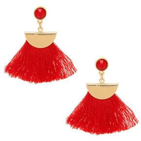Red Tassel Drop Earrings,