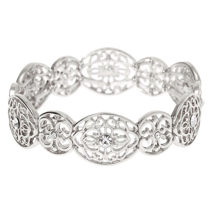 Silver Filigree Stretch Bracelet,