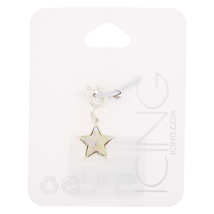 Silver Holographic Star Bracelet Charm,