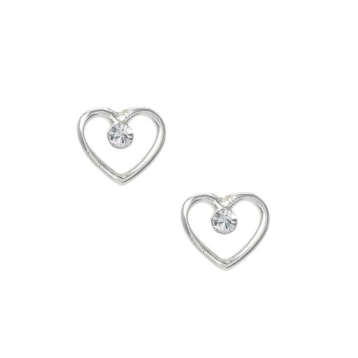Sterling Silver Heart Outline Stud Earrings,