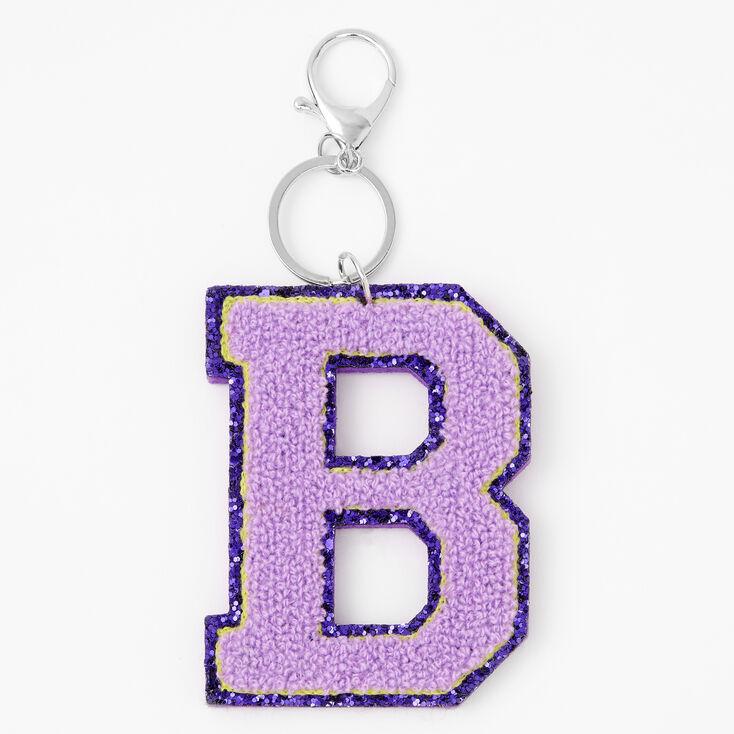 Purple Varsity Initial Keychain - B,