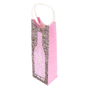 You're Welcome Shaker Glitter Wine Gift Bag - Pink,