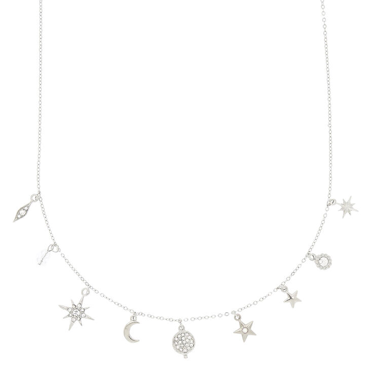 Silver Cosmic Charm Pendant Necklace,