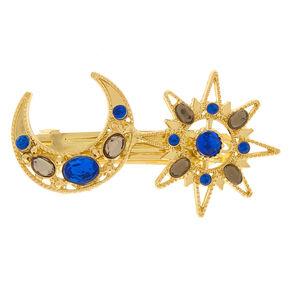 Gold Moon & Stars Hair Barrette,