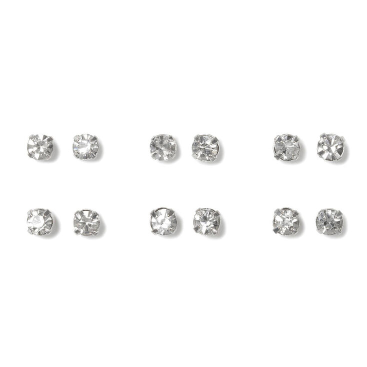 Crystal Stud Earrings Set of 6,
