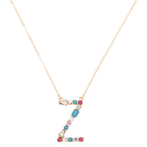 Embellished Long Initial Pendant Necklace - Z,