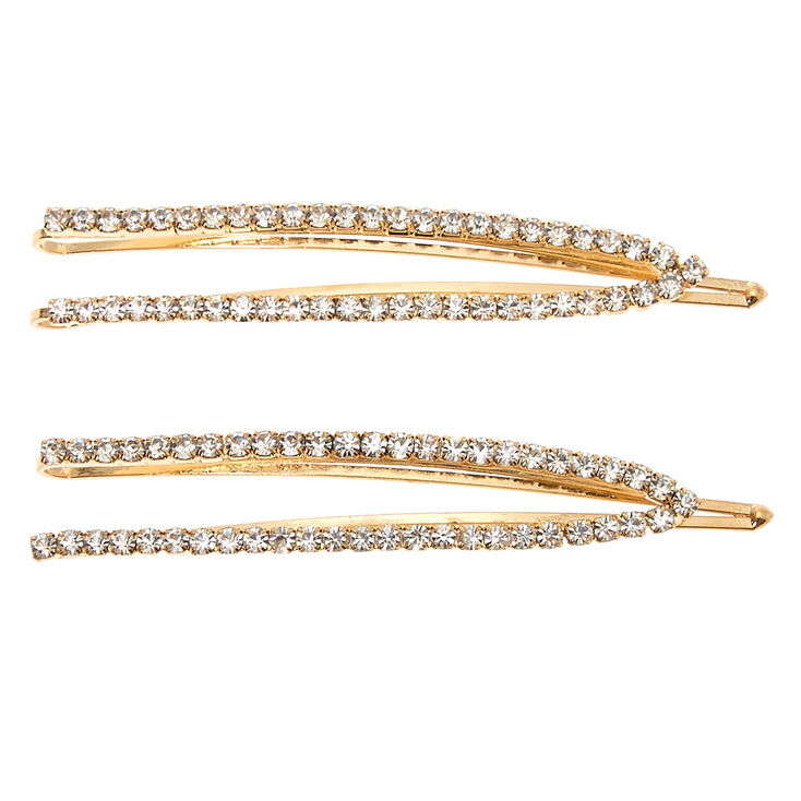 Gold Rhinestone Open Bobby Pins - 2 Pack,