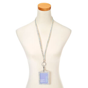 Iridescent Studded Lanyard Key ring ID Holder,