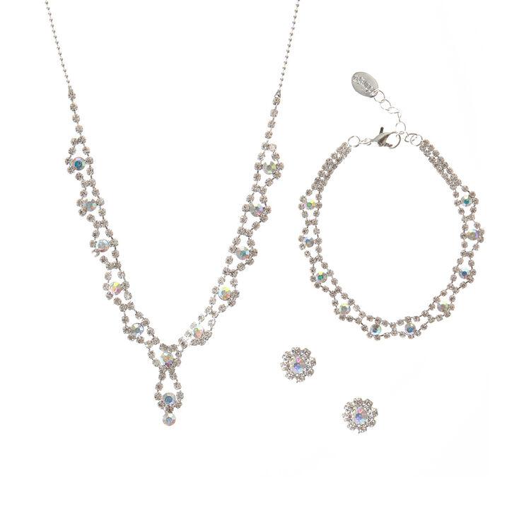 Iridescent Necklace, Bracelet & Earring Jewelry,