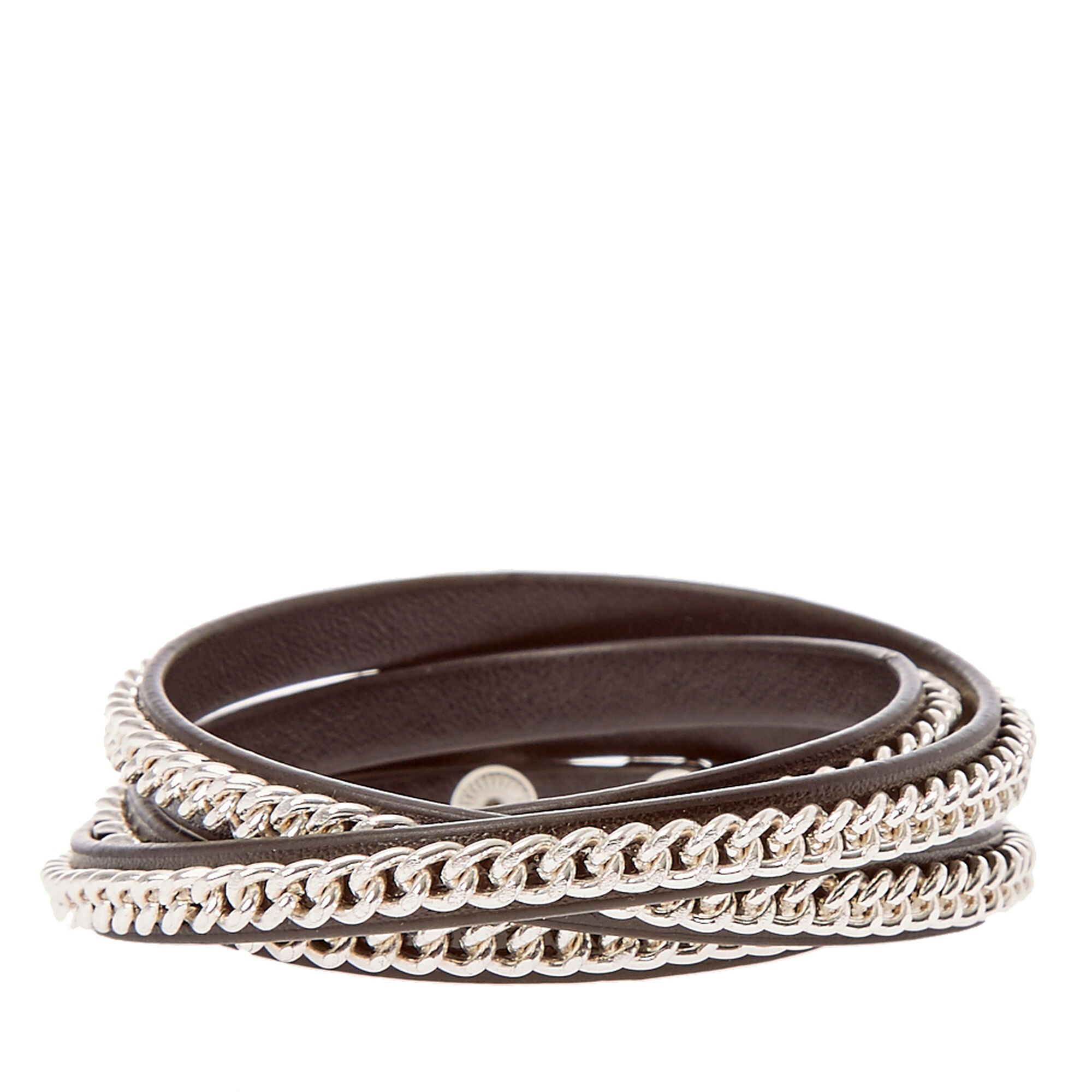 bangles in lyst for bangle product brown jewelry fendi gallery leather ebony bracelet men selleria
