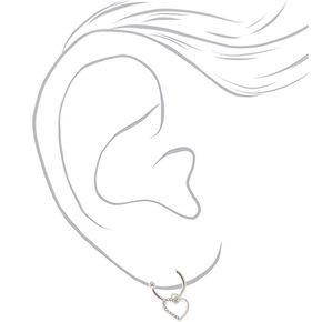 Silver 12MM Heart Hoop Earrings,
