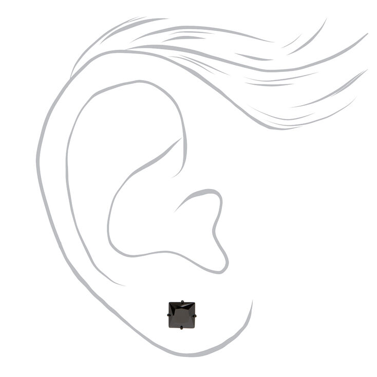 Black Titanium Cubic Zirconia Square Stud Earrings - 5MM,