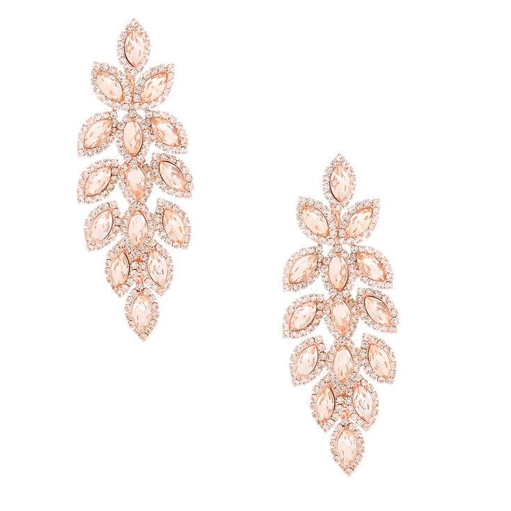 """Rose Gold Rhinestone 3"""" Leaf Chandelier Drop Earrings,"""