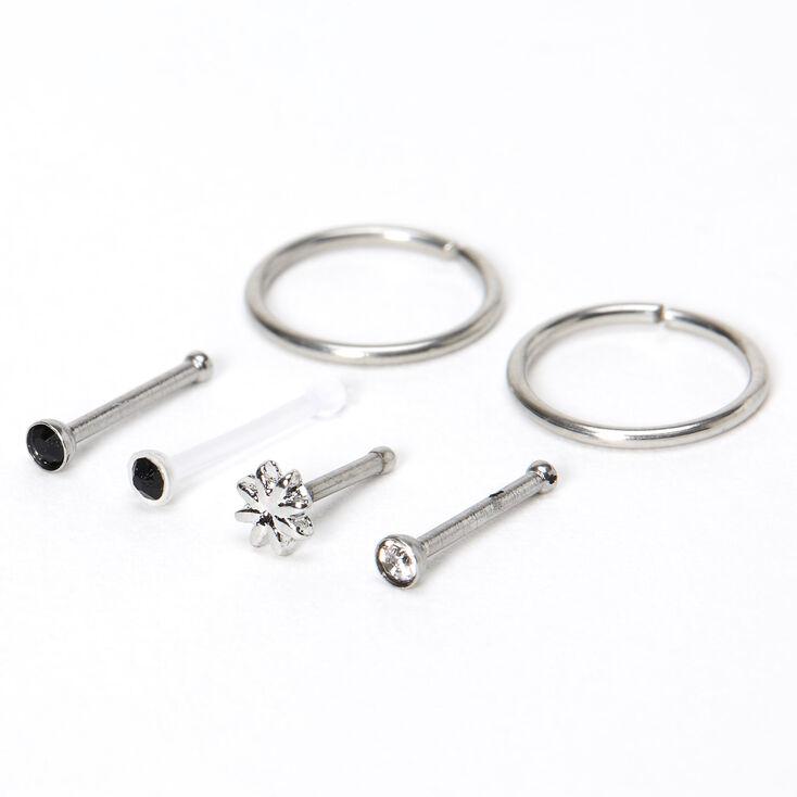 Silver 20G Northern Star Stud & Hoop Nose Rings - Black, 6 Pack,